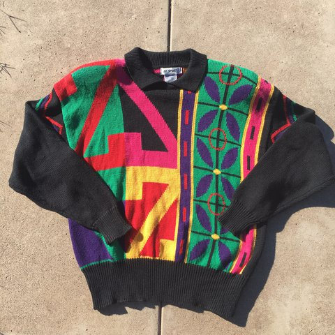 Colorful color block vintage 80s sweater Tag size S Will - Depop efae6ea28