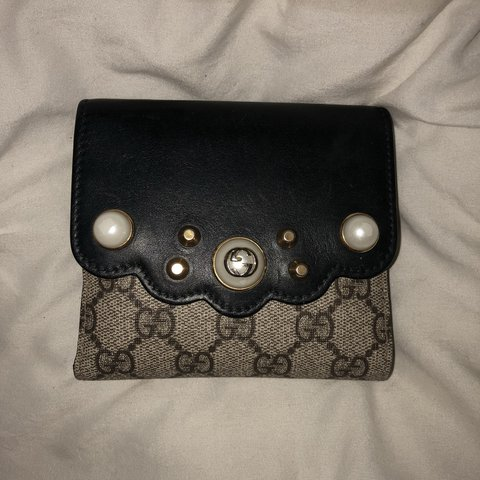 30661a0f7cb5 Gucci GG Supreme monogram Pearl Studded French Wallet , used - Depop