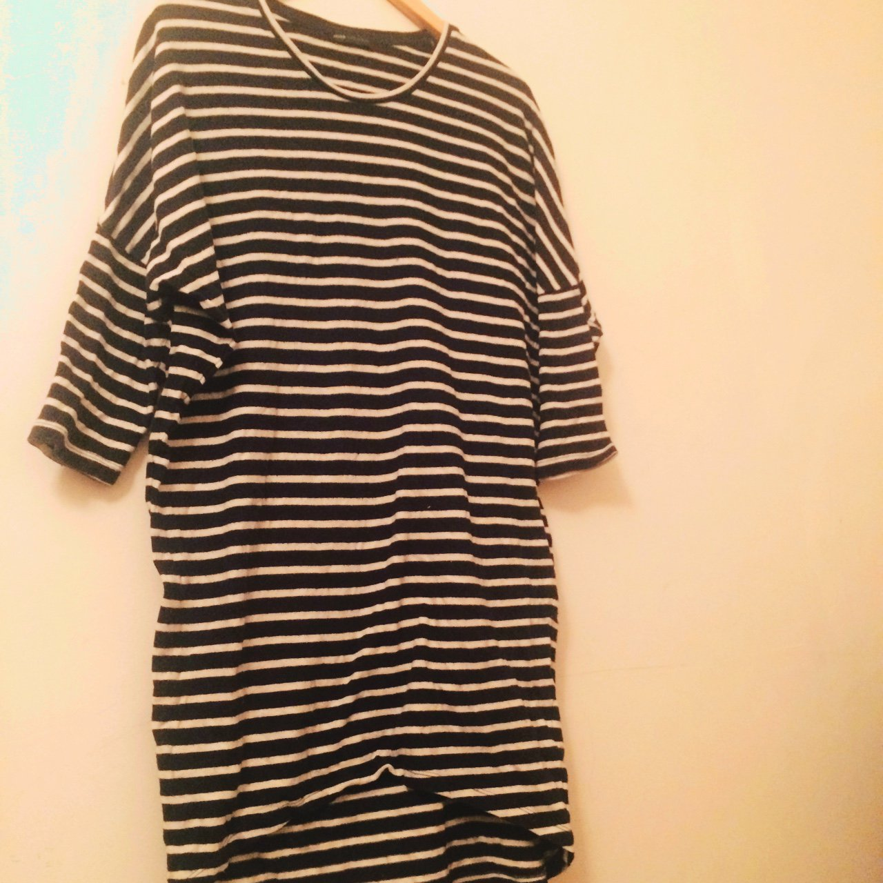 99111fcff9a Blue and white striped dress. Baggy fit. Really soft Falls I - Depop