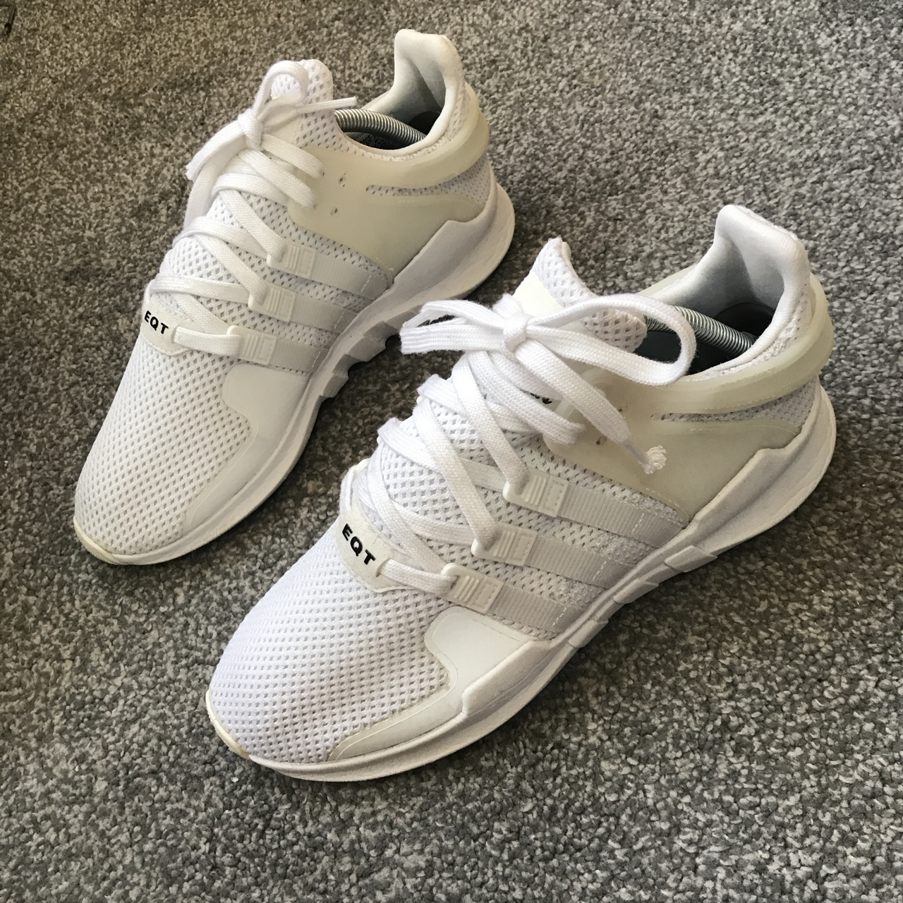 White Adidas EQT reflective trainers in