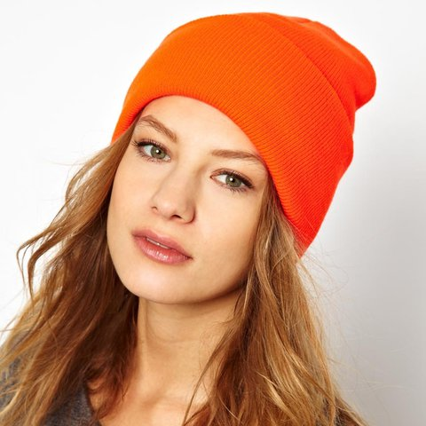 8fefe96ac9f7a AMERICAN APPAREL (AA) neon   fluro orange beanie one worn