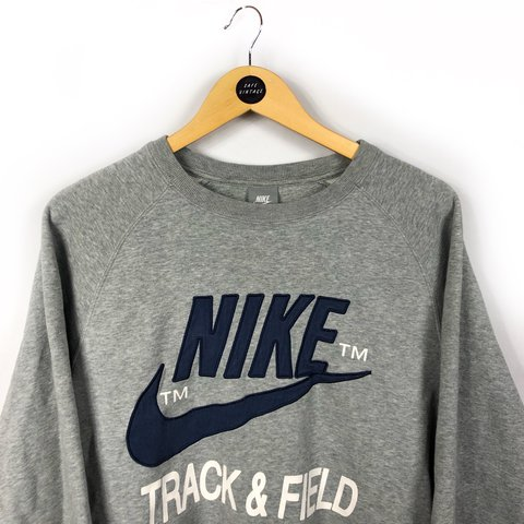 Vintage Nike sweatshirt sweater jumper in grey colour with - Depop 03352edc4