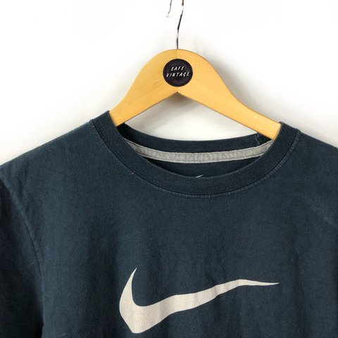 3e9f757f7dff Vintage Nike air crew neck t shirt top in navy blue with out - Depop