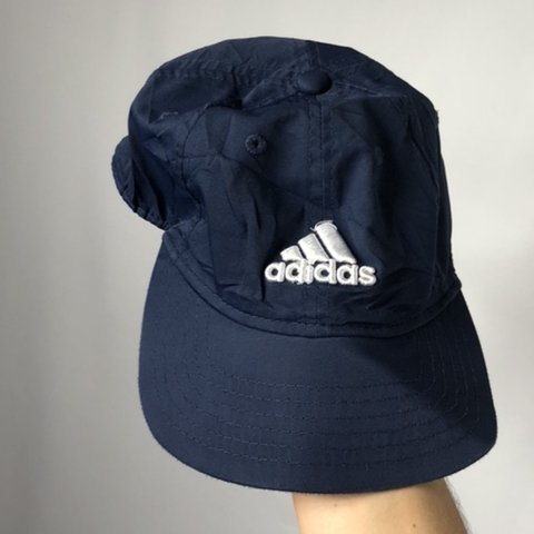 e776cec0368 Vintage Adidas navy blue baseball cap hat in navy blue with - Depop