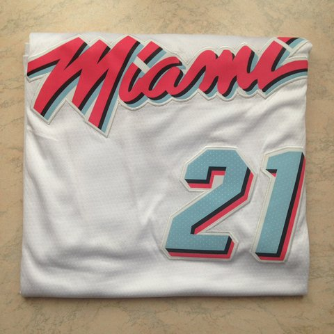13950a550 Miami Heat white city edition jersey Hassan Whiteside L - up - Depop