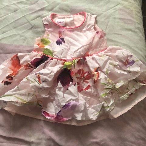 52a54cf87 0-3 months pink flower detailed TED BAKER dress. Fluffy   - - Depop