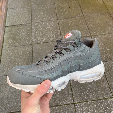 2e8a1cc021801 Nike Air Max 95 👟 - White and green colour way - Size UK 10 - Depop