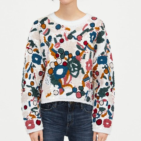 c1a92ae4 @neverendingstory2017. 7 months ago. Birmingham, GB. Zara floral  embroidered jumper sequin sequinned sweater