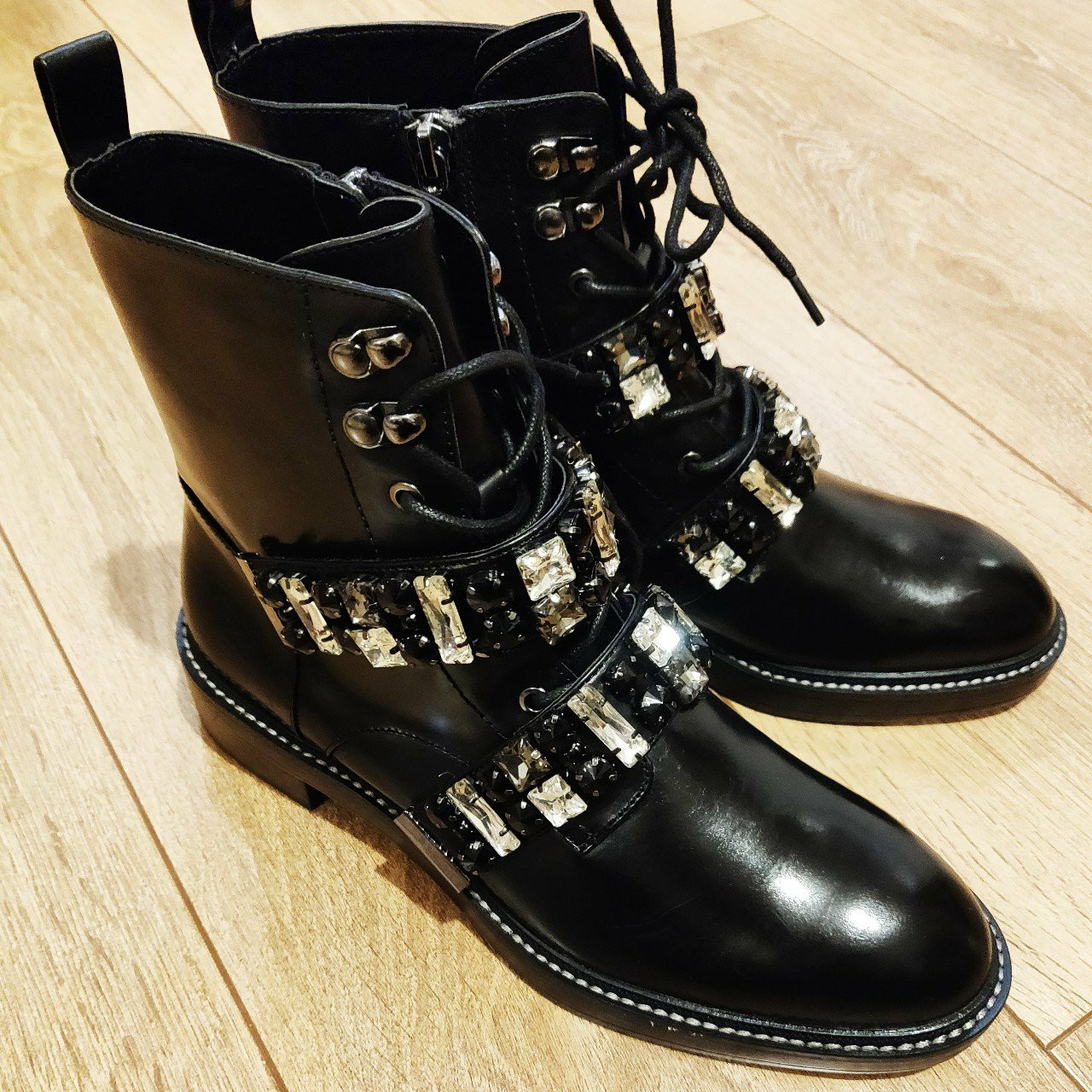 d4d6a7d206c Zara leather biker ankle boots with bejewelled... - Depop