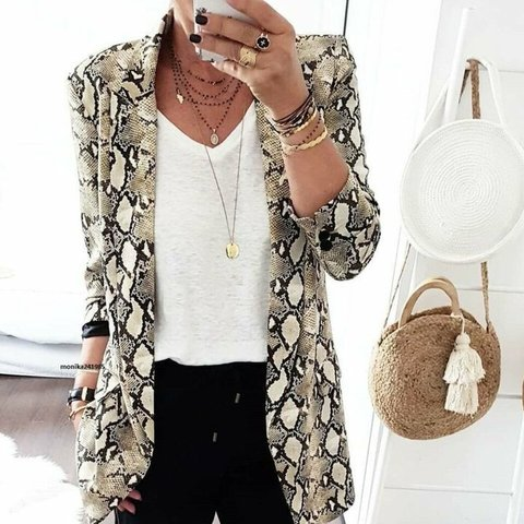 d5f27ae65982 Zara animal snake skin print blazer tailored frock coat XS - Depop