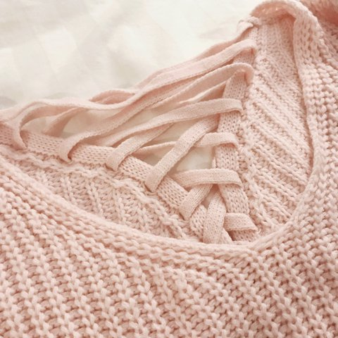 a1d19041a8 OVERSIZED PINK KNITTED LACE UP SWEATER✨ Deep V neck and has - Depop