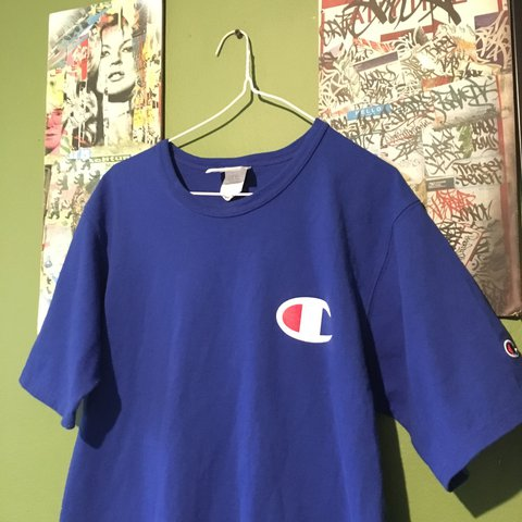 75fa76eb •Royal blue men's champion T-Shirt •Medium •light use - Depop