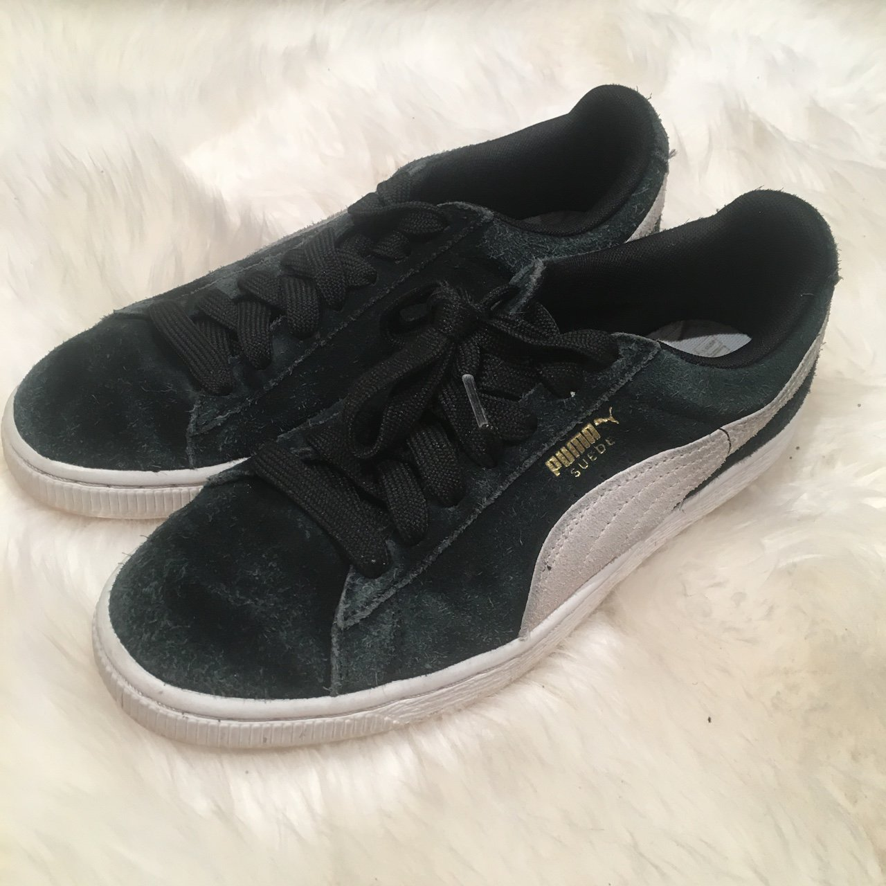 Puma suede sneakers Black Worn as shown Womens 7 Tags    66086f89f2