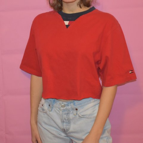 b2e0221c636a8  kassiehensley. 18 days ago. United States. Super cute red Tommy Hilfiger  raw hem cropped top. Good condition!