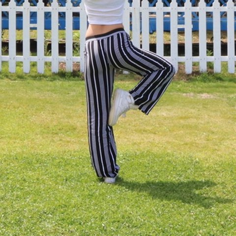 e0a3015b5e Flowy black and white striped pants! Love love love these by - Depop
