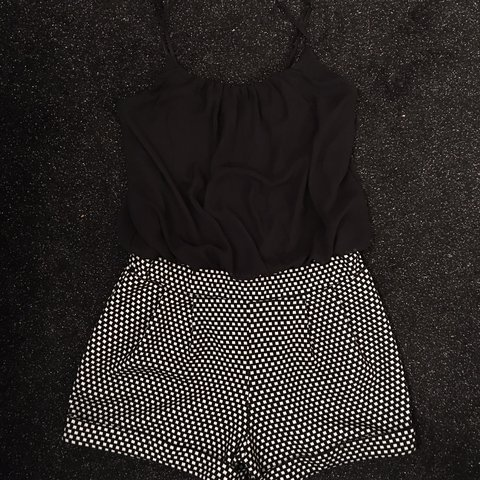 03bfd1ba024 Cute black and white checkered playsuit from Topshop. Worn a - Depop