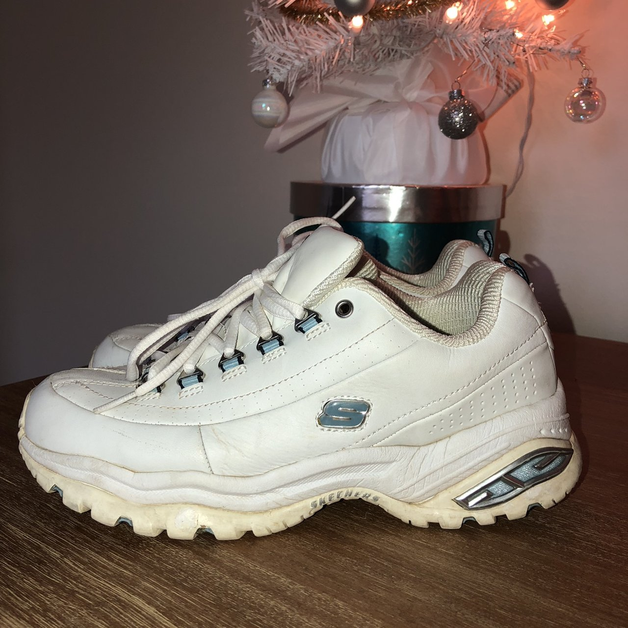 785b6f6a7284 Y chunky skechers shoes amazing white chunky dad sneakers depop jpg  1280x1280 Y2k shoes