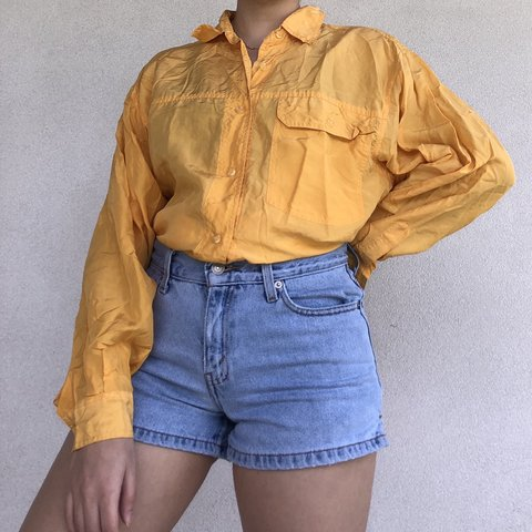 dd98d73583315 100% silk sunshine yellow button down shirt. Amazing mustard - Depop