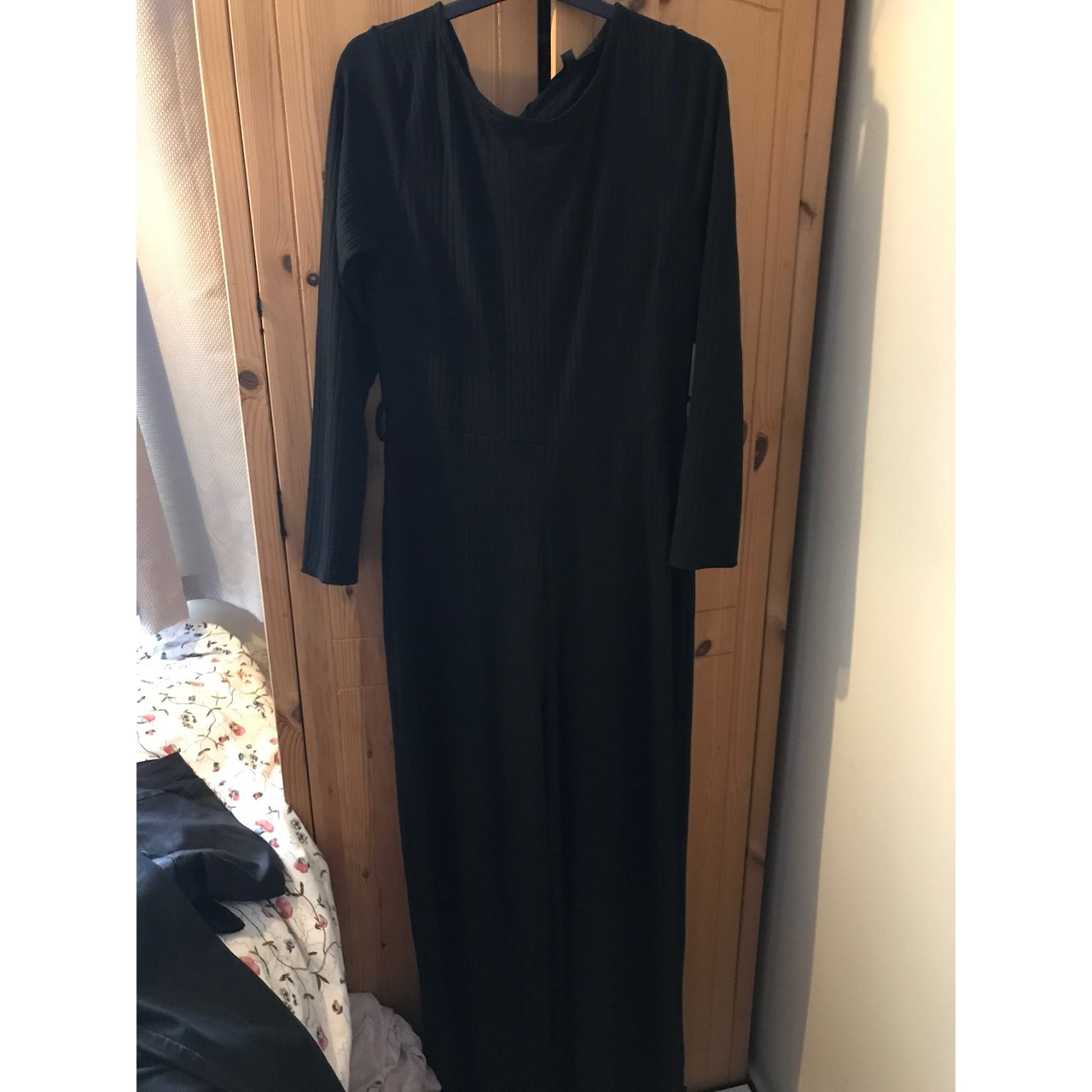 5b3c6bfb2a6 Missguided black long sleeved flared jumpsuit. Worn once. a - Depop