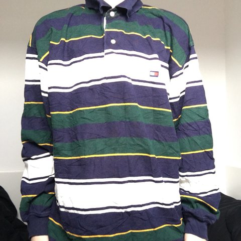 264e40a56 long sleeved vintage tommy hilfiger rugby style polo tshirt. - Depop