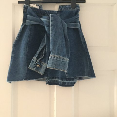 e6c1ab51e37 @chlowee10. last year. Leicester, United Kingdom. Zara denim skirt with tie  waist
