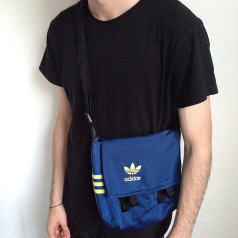 533732d150 Vintage Adidas blue and yellow small messenger bag made by a - Depop