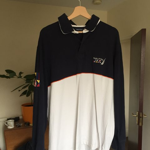 074ef7113 Nautica long sleeve sailing rugby polo top tshirt. Excellent - Depop