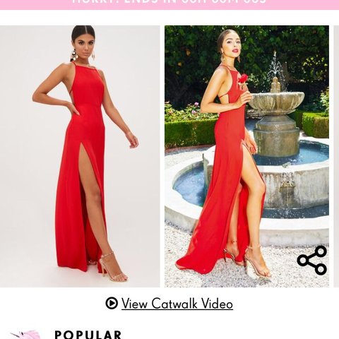 c58d0cd555 Pretty Little Thing red strappy back detail chiffon maxi for - Depop