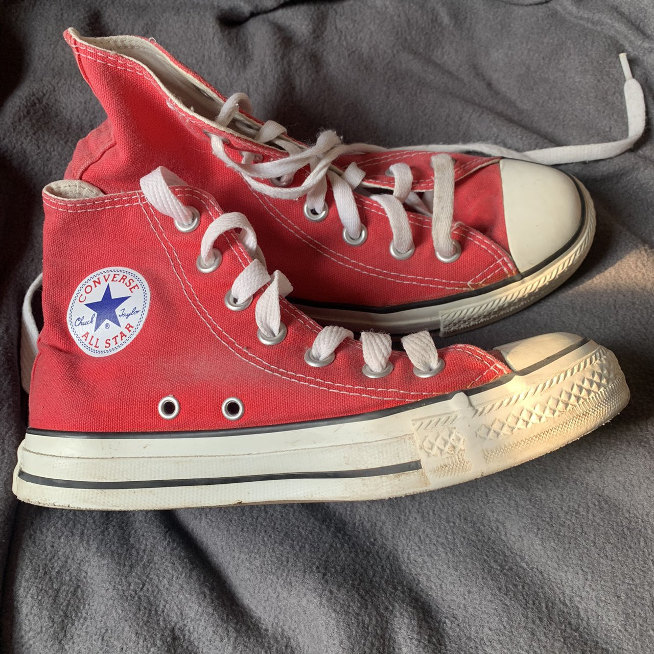 Size 3 Red Converse High Tops ❤️ Worn a