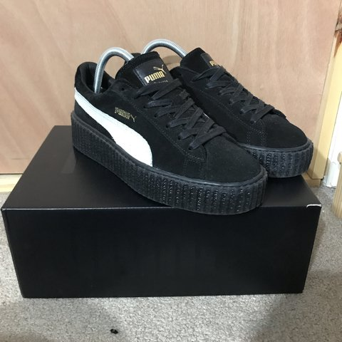 0c3b339abbc42f Black and white fenty puma creepers - barely worn - comes an - Depop