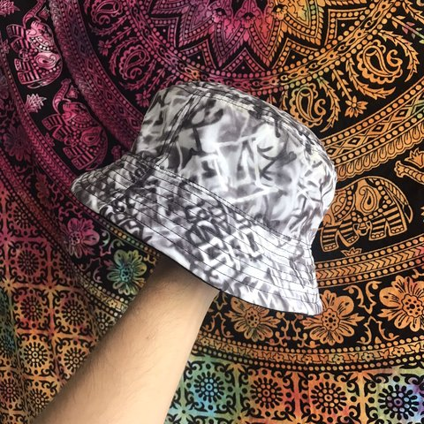 a8df6af5284 Graffiti bucket hat. Black white and grey. Famous Stars and - Depop