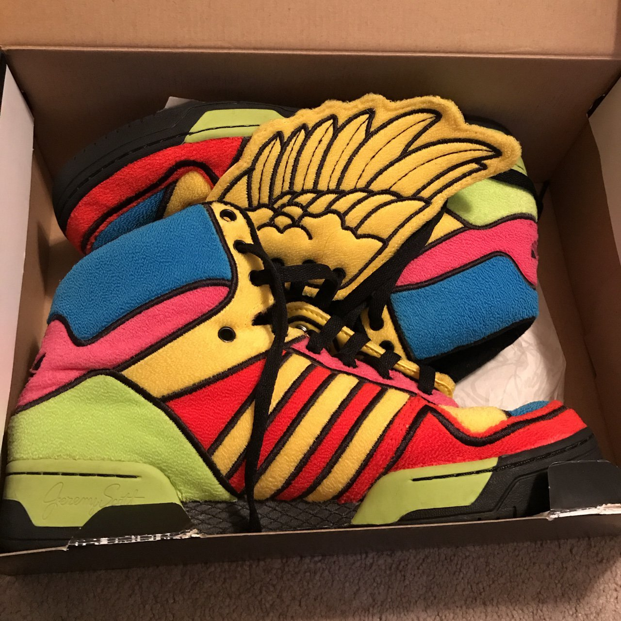 c00f72a54 Jeremy Scott multicolor wings! Only worn about 5 times. Very - Depop