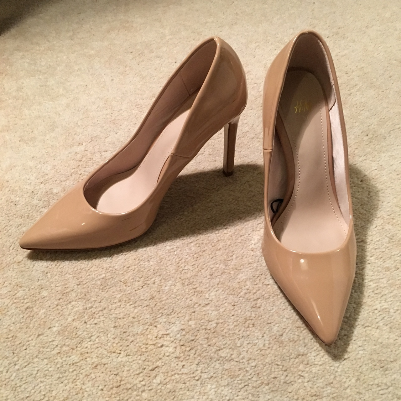 Beige nude court shoes from H\u0026M in a