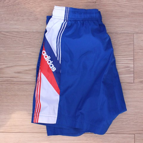 02f181cb1d @colinmc95. last year. Glasgow, United Kingdom. Adidas retro looking sports  shorts. Blue/White/Red.
