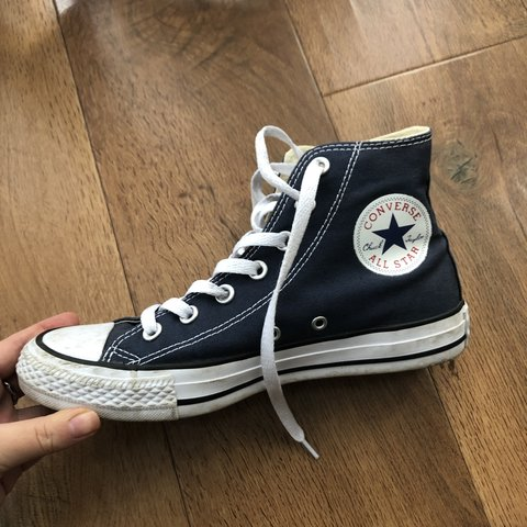 REAL converse Navy high tops Great condition Hardly worn - Depop 559708fb0