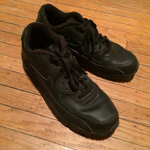 7b4b799a6d08b Nike air max 90 s - all black - leather - size 9.5 - hardly - Depop