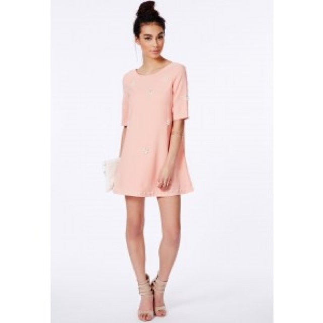 Pink Missguided shift dress with pearl flower embellishment 6c71e567c