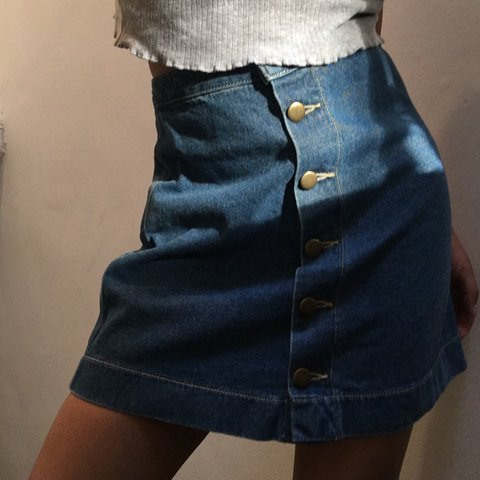 37fb2d75d2 @acastles. last year. Queens County, United States. American Apparel high  waisted denim skirt size xs ...
