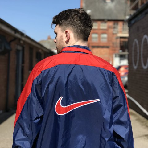 90s Nike Jacket - size large - PSG colourway navy blue red - Depop 96d4109e0