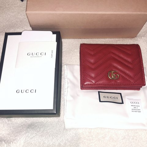 86e5f89c90bd03 Red Gucci purse wallet woman's gg zig zag leather. Comes - Depop