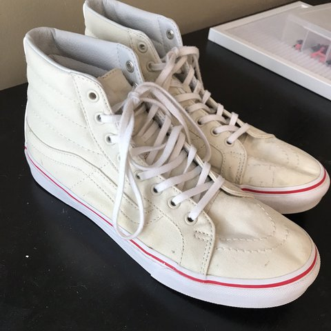 ef9fe5c97b EUC Vans SK8 Hi Slim Leather Canvas. Bone True White color. - Depop