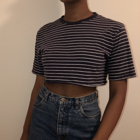 d5aa092d688980 navy and white striped cropped t shirt. by the children s on - Depop