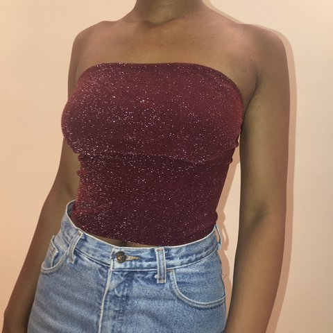 f210cd06080 purple and white sparkly tube top! very comfy and stretchy. - Depop