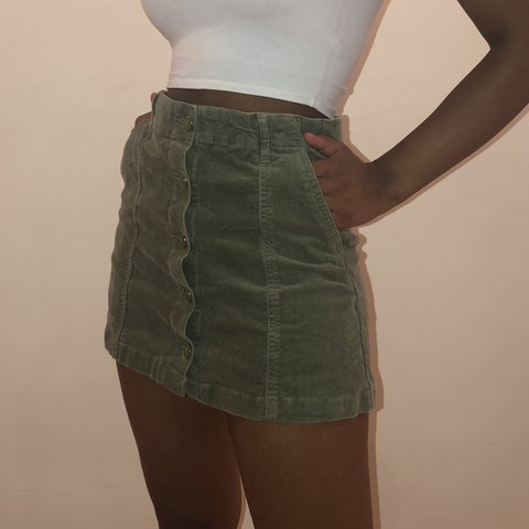bbe3fdcf28 green corduroy button up mini skirt. forever 21