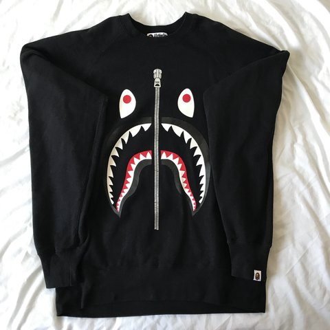 62b282879784 Bape shark zip jumper with written on the rear bottom depop jpg 480x480 Wgm  bape shark