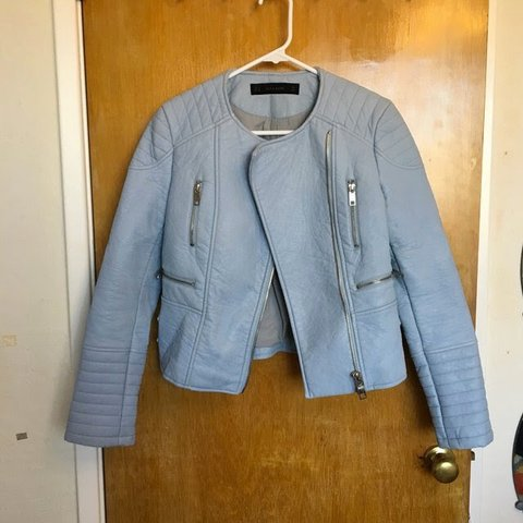 ad092344 @kris_butterfly. 3 months ago. San Francisco, United States. BABY BLUE  LEATHER MOTO JACKET