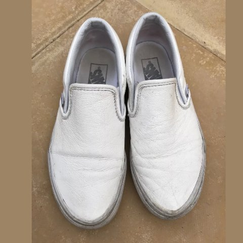 8679bf0cafc Vans white classic leather slip ons. Size 38 5. £5.99 - Depop