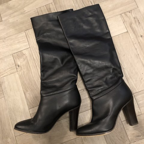 0af2737f7acc Black Leather Knee Length Boots From Kate Kuba No box - Depop