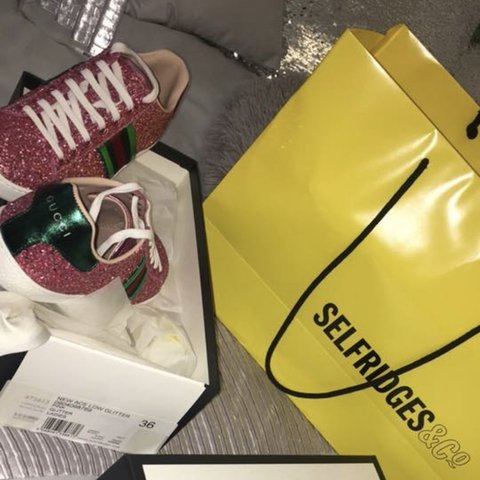 e9bc64ec907d Pink sparkly striped Gucci shoes bought from Selfridges Only - Depop