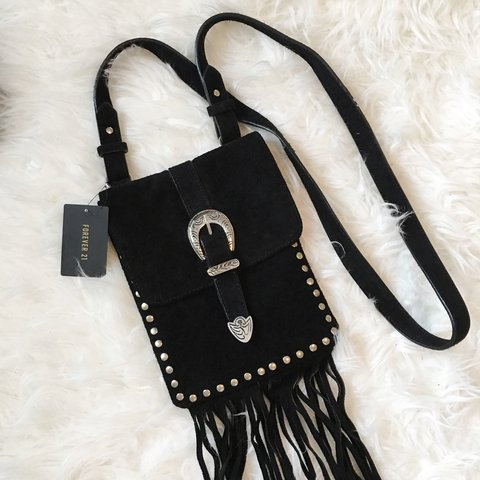 d211426e2 @janeherself. 9 months ago. Chesapeake, United States. Western inspired  black suede crossbody bag ...